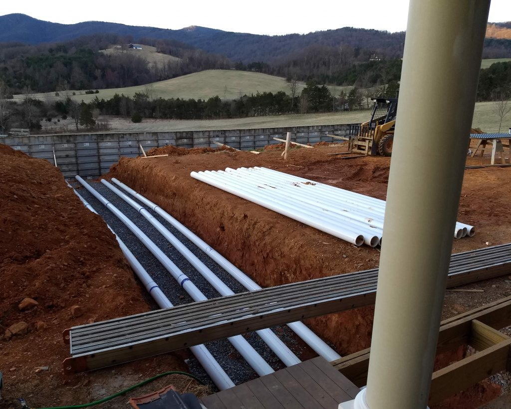 28 March 2019 - Beginning to lay conduit for the HVAC (heating and cooling system)