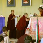 HE Jetsun Khandro Rinpoche makes the body, speech and mind offering to HE Dzigar Kongtrul Rinpoche