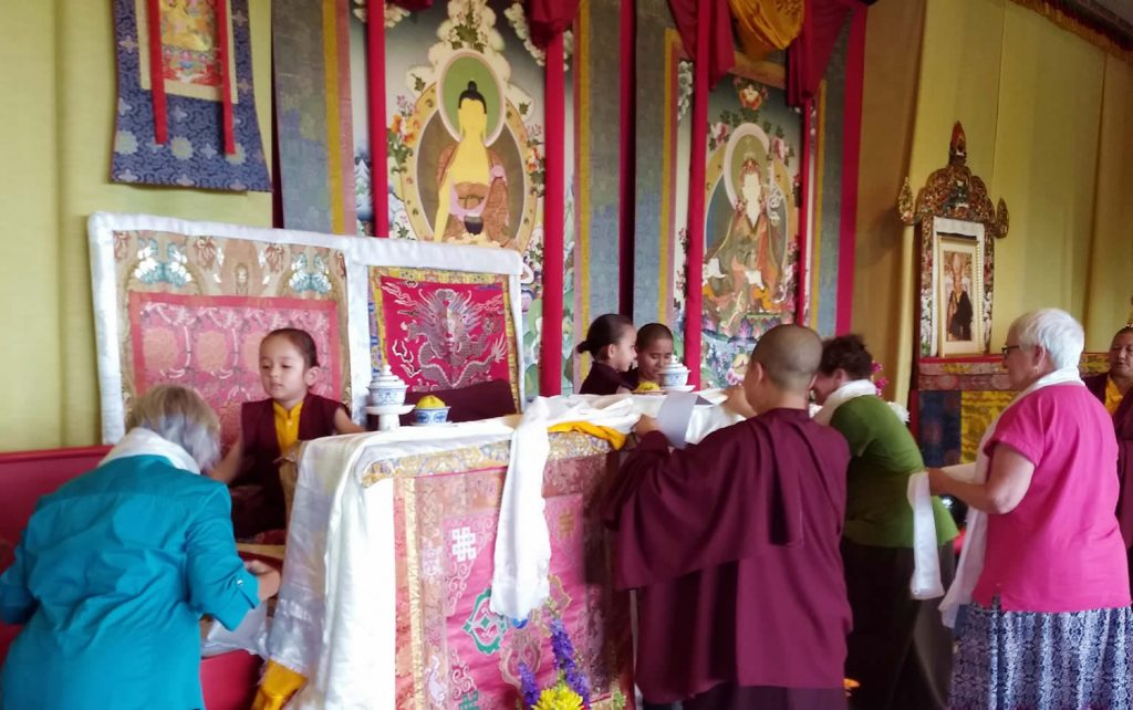 Offering khatags to Dungse Rinpoche and Jetsün Rinpoche
