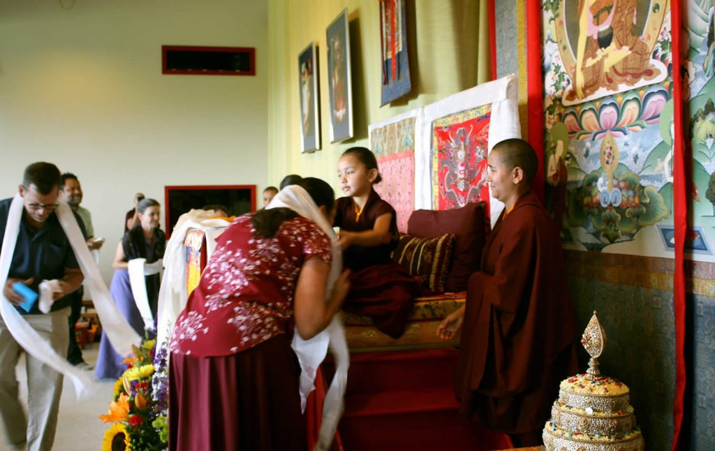Offering khatags to Jetsün Rinpoche
