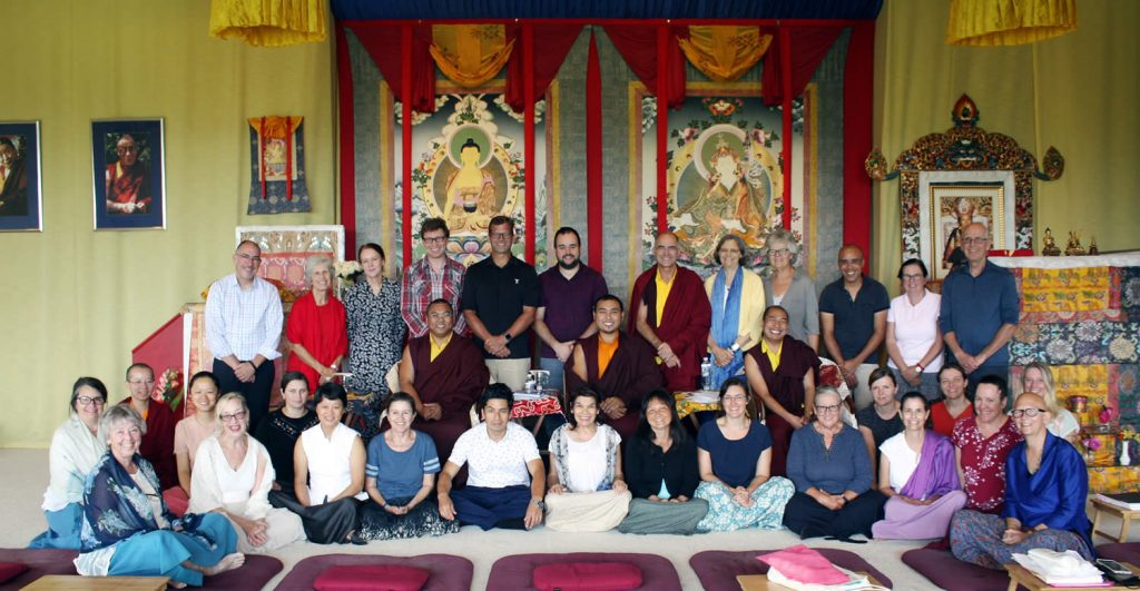 Ven. Choktrul Ngawang Jigdral Rinpoche, Ven. Khenpo Namdrol Gyatso and Ven. Lama Thrinley Gyaltsen and students from the Tibetan Language and Ritual classes