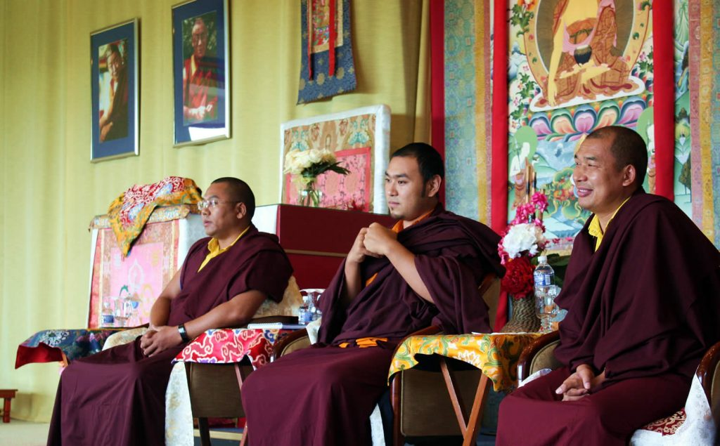 Ven. Choktrul Ngawang Jigdral Rinpoche (center), Ven. Khenpo Namdrol Gyatso (left) and Ven. Lama Thrinley Gyaltsen (right) on the final day of the Mindrol Lekshey