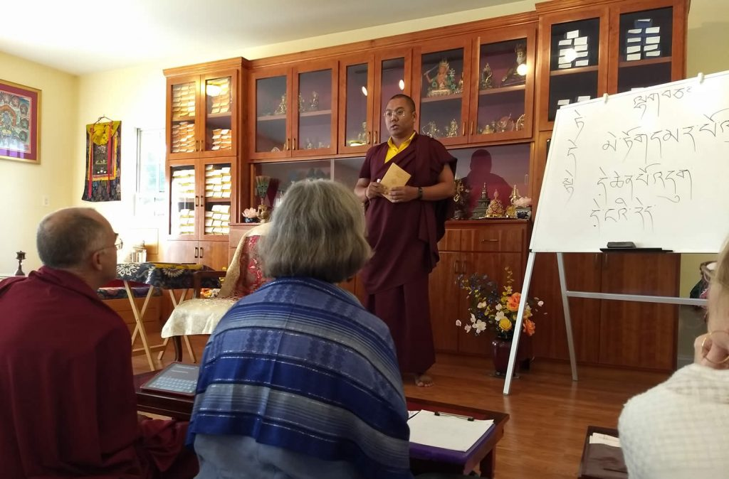 Ven. Khenpo Namdrol Gyatso la with students during Tibetan grammar class