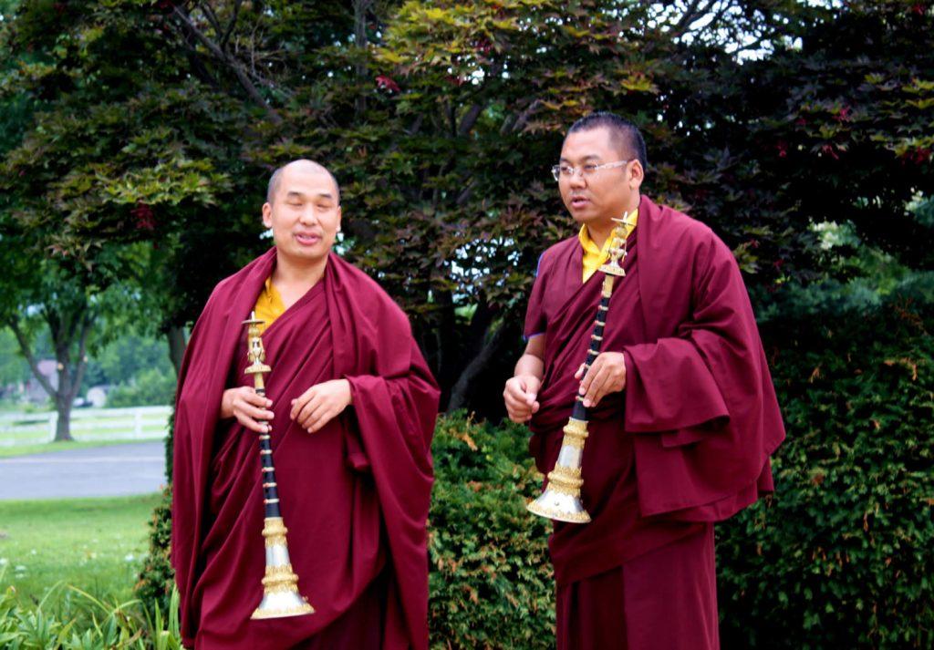 Ven. Khenpo Namdrol Gyatso and Ven. Lama Thrinley Gyaltsen await arrival of HE Dzigar Kongtrul Rinpoche