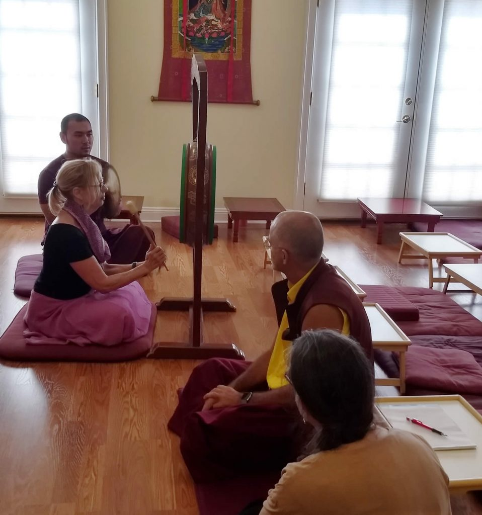 Ven. Choktrul Ngawang Jigdral Rinpoche with drum students