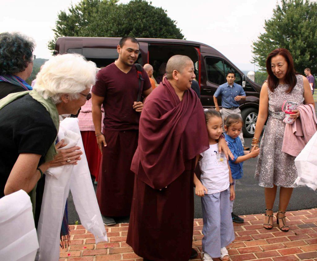 Her Eminence Mindrolling Jetsün Khandro Rinpoche arrives at Lotus Garden
