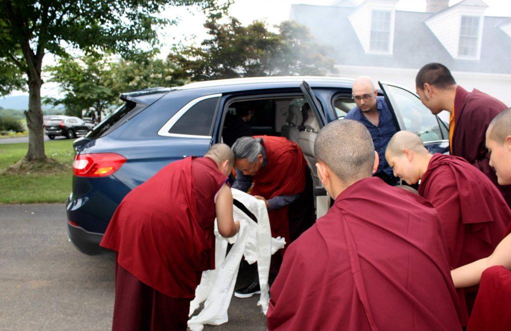 H.E. Jetsün Khandro Rinpoche welcoming H.E. Dzigar Kongtrul Rinpoche to Lotus Garden