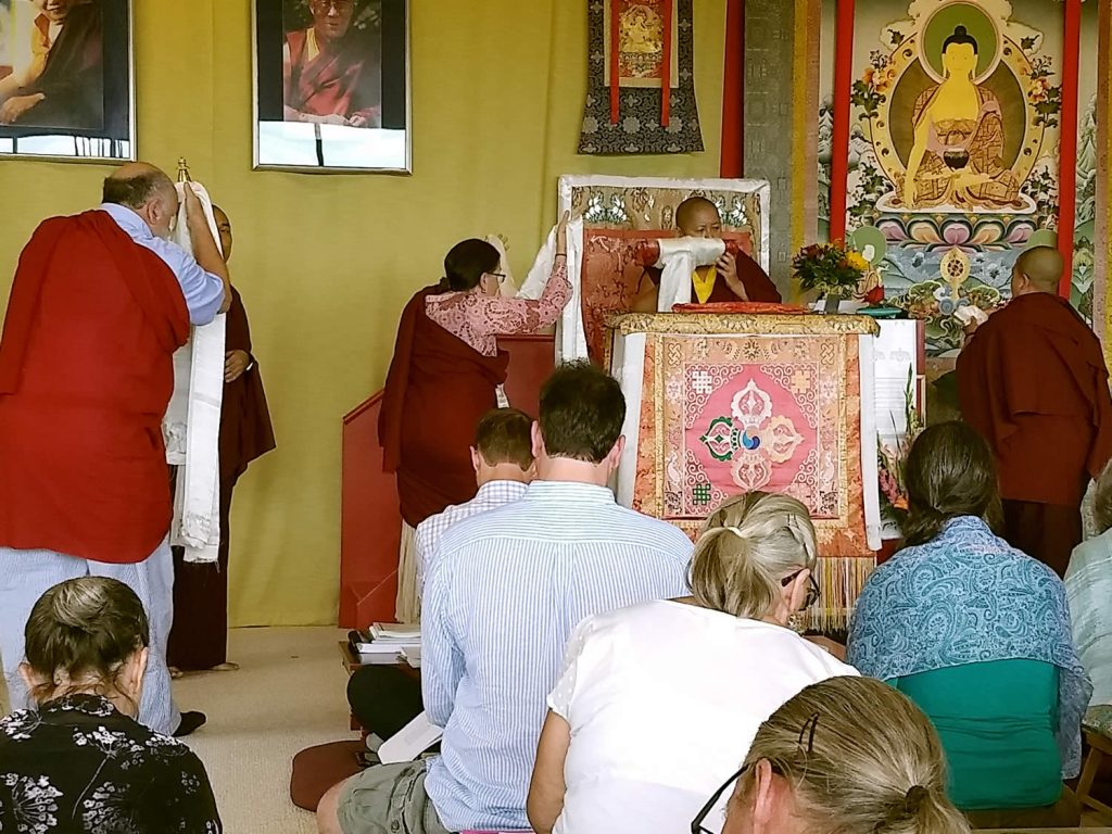 Lotus Garden lopöns make the Body, Speech and Mind Offering to Her Eminence Mindrolling Jetsün Khandro Rinpoche.