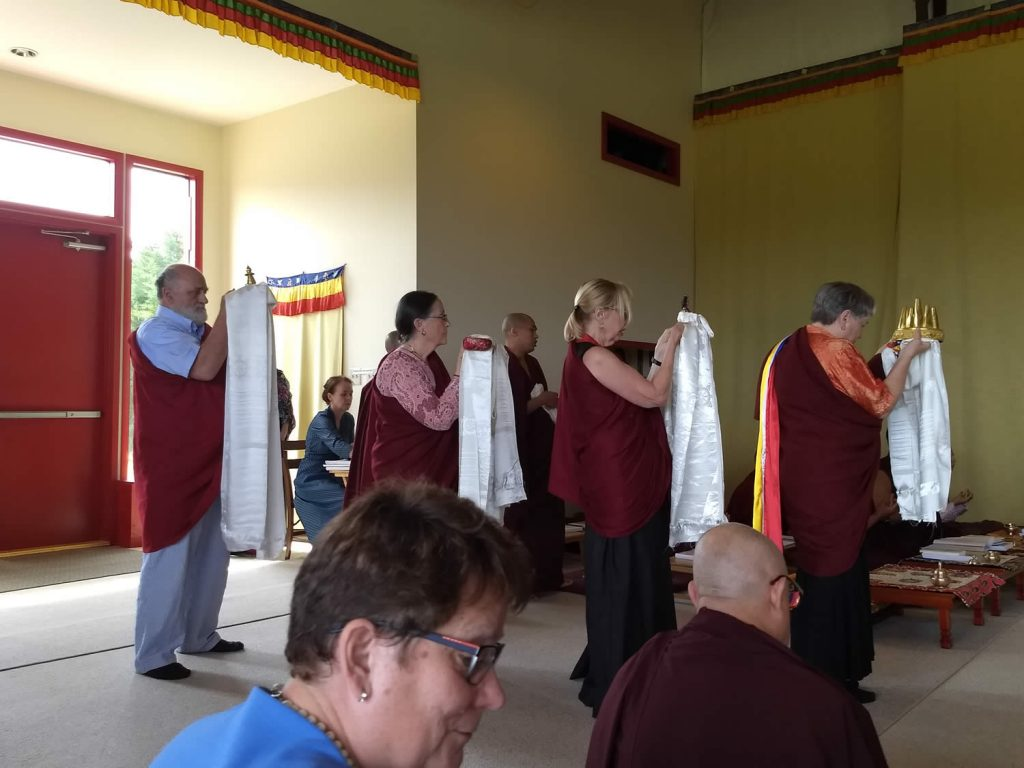 At the conclusion of the teachings, the Lotus Garden lopöns make the Mandala, Body, Speech and Mind Offerings to H.E. Mindrolling Jetsün Khandro Rinpoche