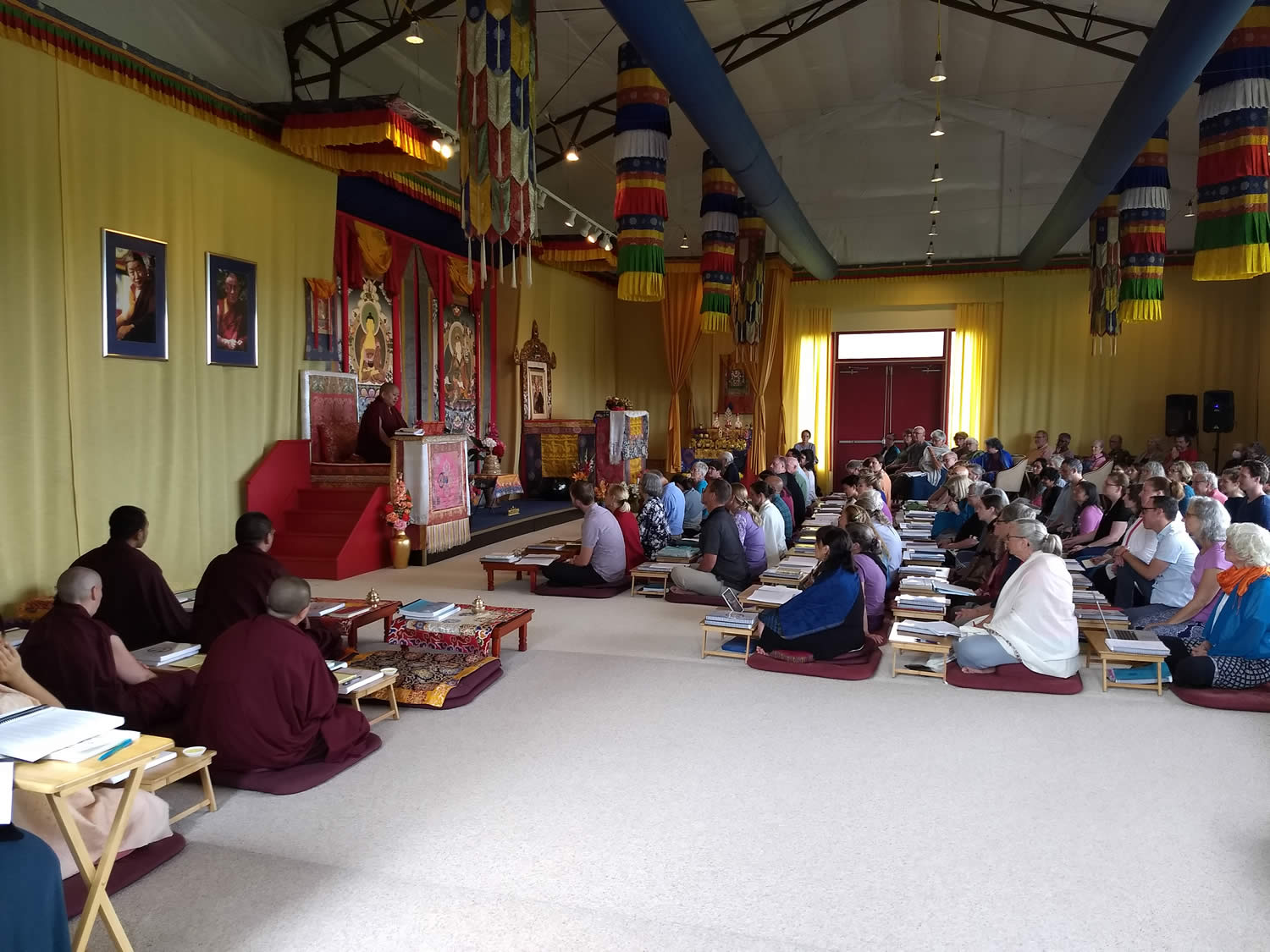 Mindrolling Jetsun Khandro Rinpoche and students during a teaching at Lotus Garden, 2018