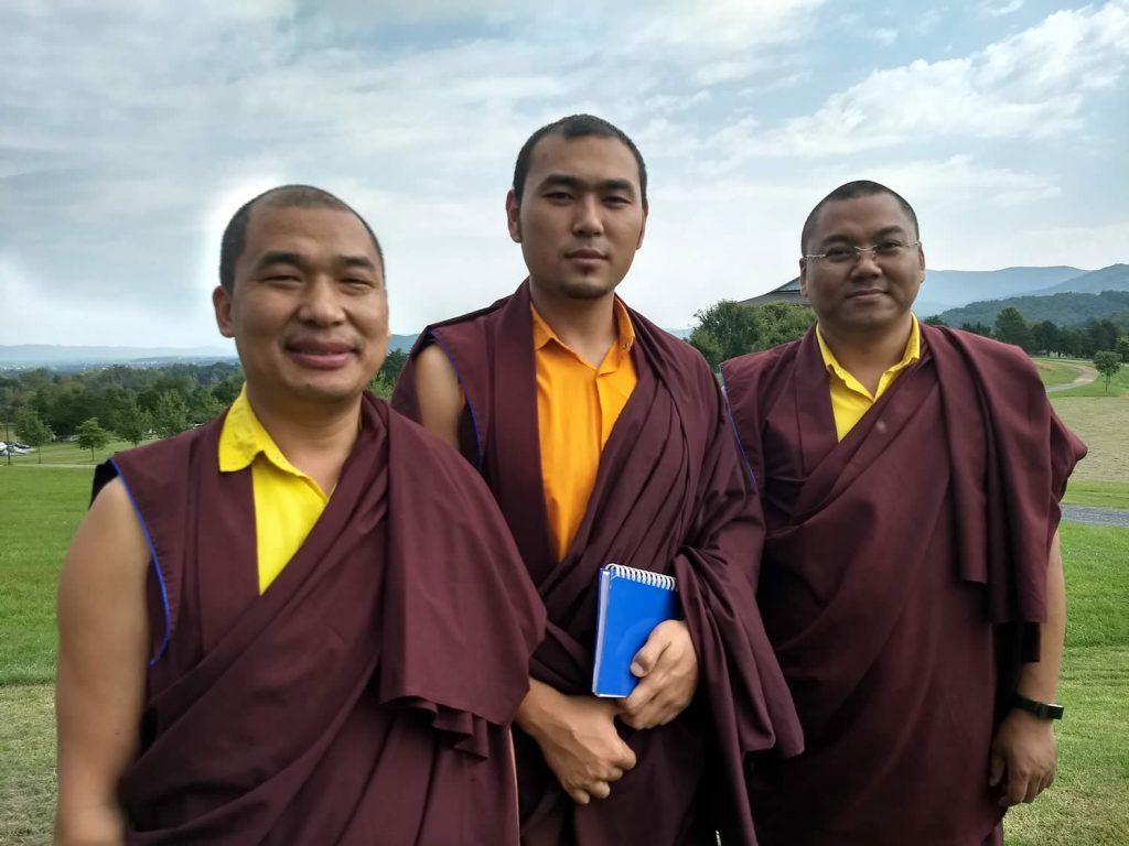 Teachers of Tibetan Language and Ritual–Ven. Choktrul Ngawang Jigdral Rinpoche (center), Ven. Khenpo Namdrol Gyatso (right) and Ven. Lama Thrinley Gyaltsen (left).