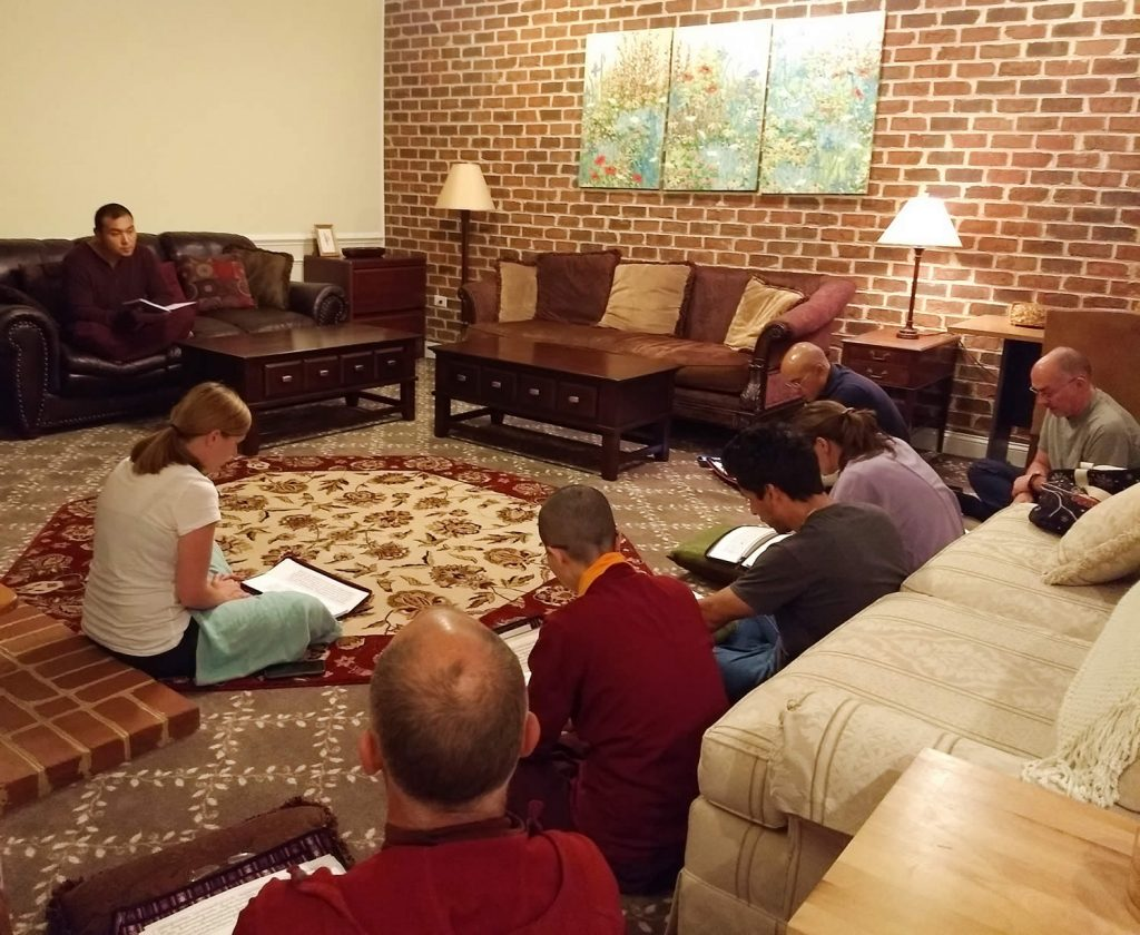 Ven. Choktrul Ngawang Jigdral Rinpoche la with Tibetan language reading class