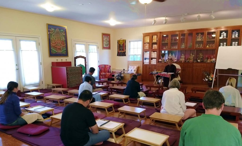 Ven. Lama Thrinley Gyaltsen la with Tibetan language reading class