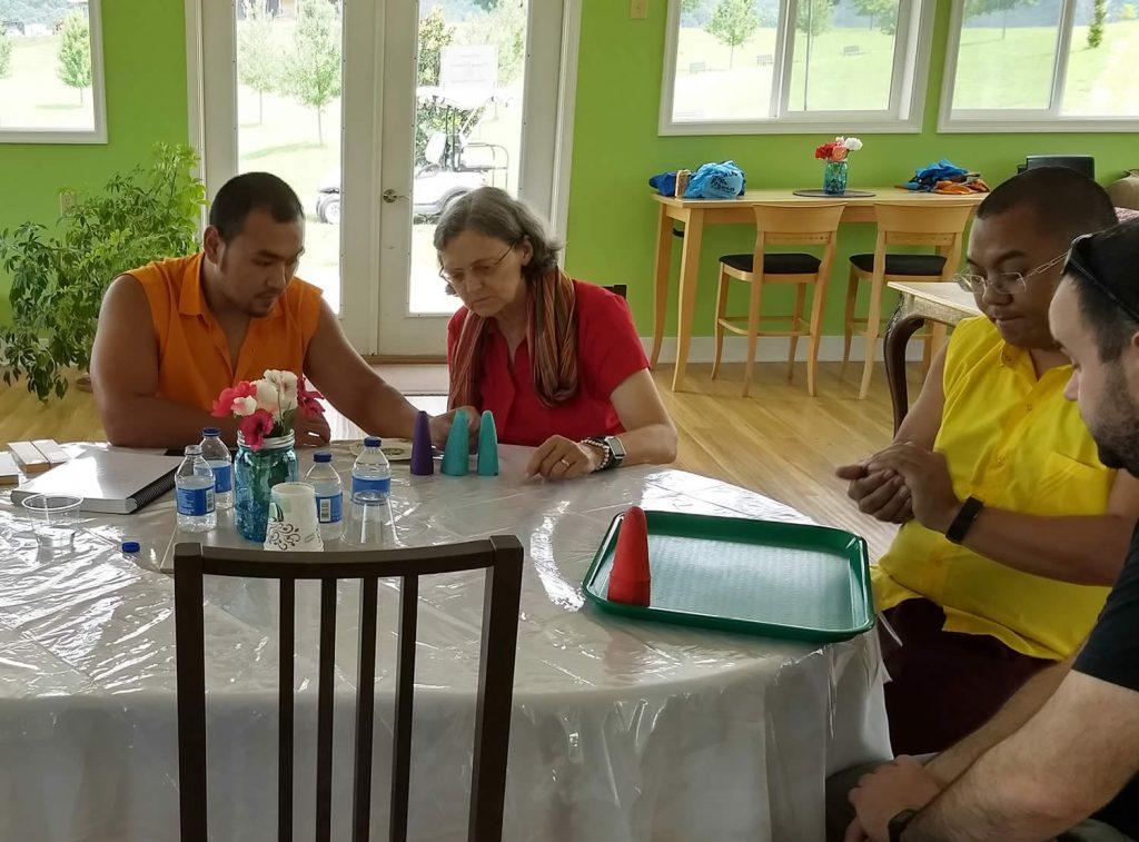 Ven. Choktrul Ngawang Jigdral Rinpoche and Ven. Khenpo Namdrol Gyatso la with students