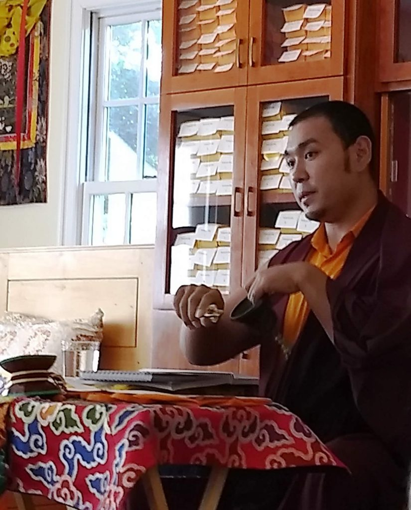 Ven. Choktrul Ngawang Jigdral Rinpoche during the Vajrasattva (Minling Dorsem) liturgy review