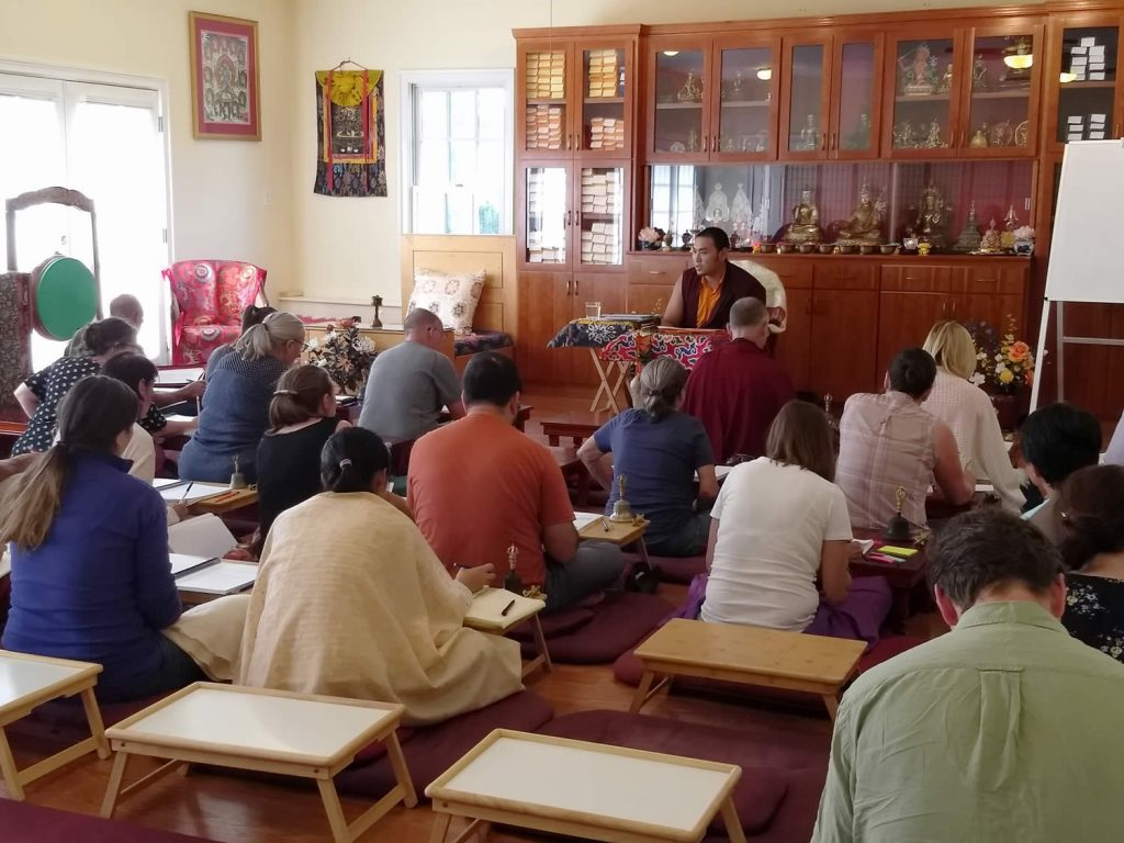 Ven. Choktrul Ngawang Jigdral Rinpoche la and students review the Vajrasattva (Minling Dorsem) liturgy