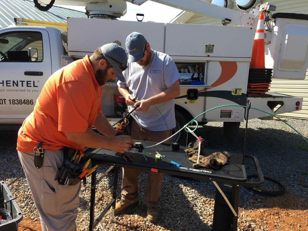 Shentel technicians splicing fiber optic cable