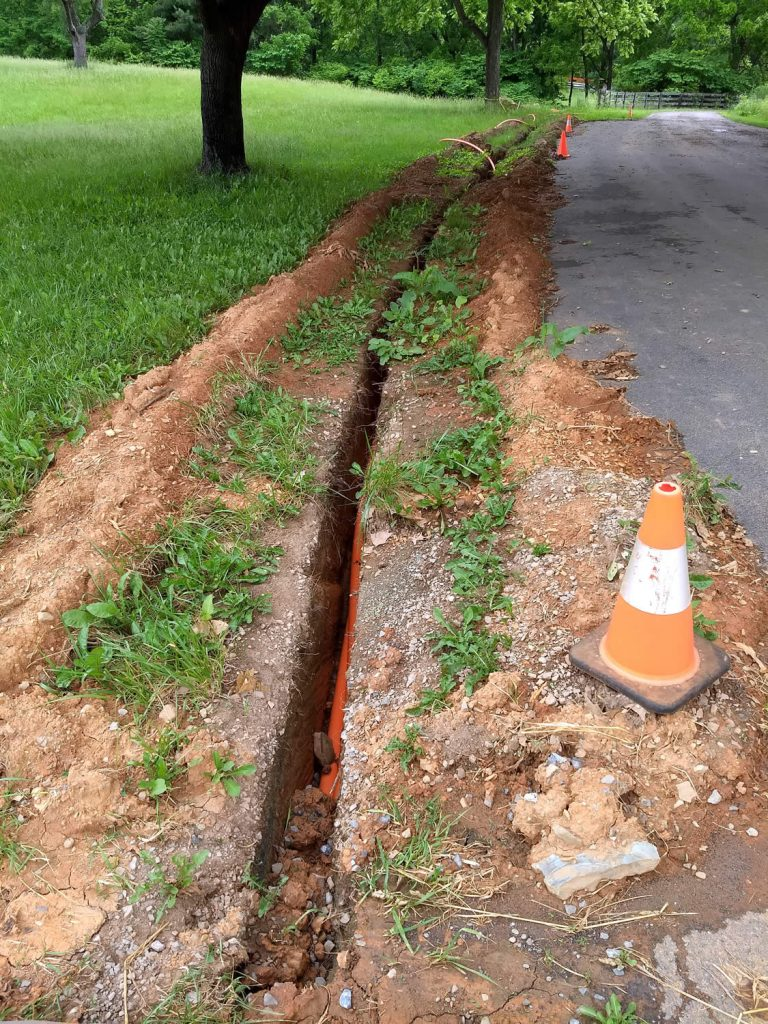 View of trench and conduit on Bodhi Way