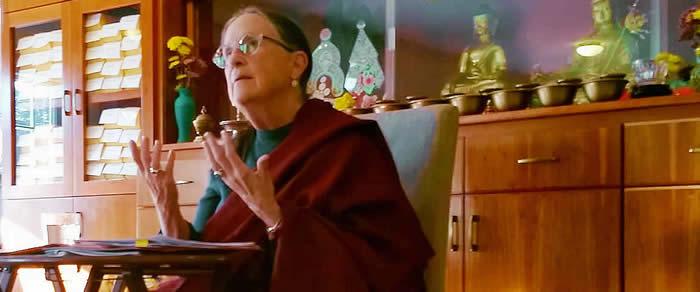 Lopön Helen Berliner during Pema Garwang review and retreat