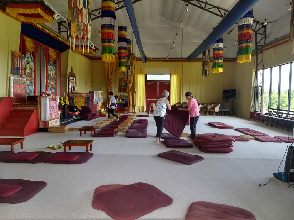 Set-up of the main shrine room for the upcoming Mindrol Lekshey at Mindrolling Lotus Garden.