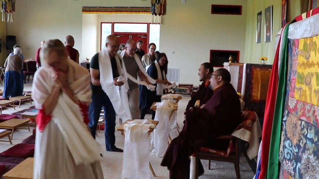Mindrol Lekshey 2019 - Offering Katags to Mindrolling Monks