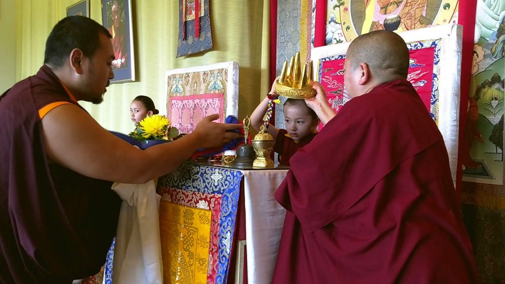 Ven. Choktrul Ngawang Jigdral Rinpoche offers the mandala to MinlingDungse Rinpoche