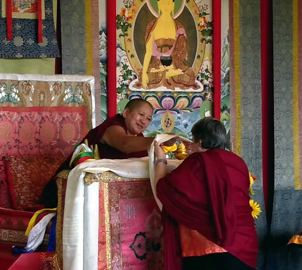 H.E. Jetsün Khandro Rinpoche and Lopön Jann Jackson during the mandala offering