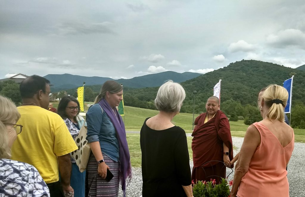 Rinpoche and sangha members