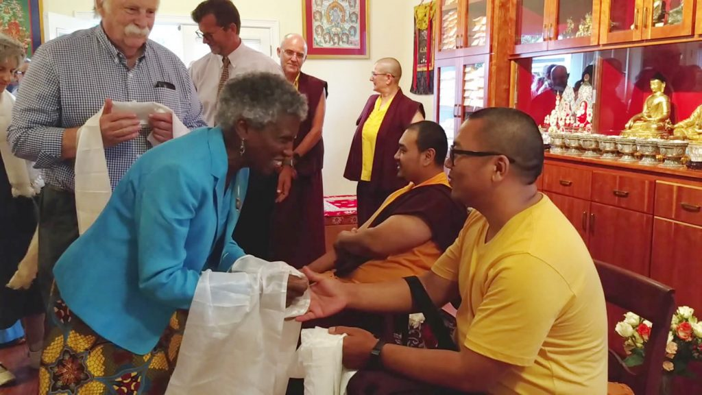 Ven. Choktrul Ngawang Jigdral Rinpoche and Ven. Khenpo Namdrol Gyatso are welcomed by the sangha
