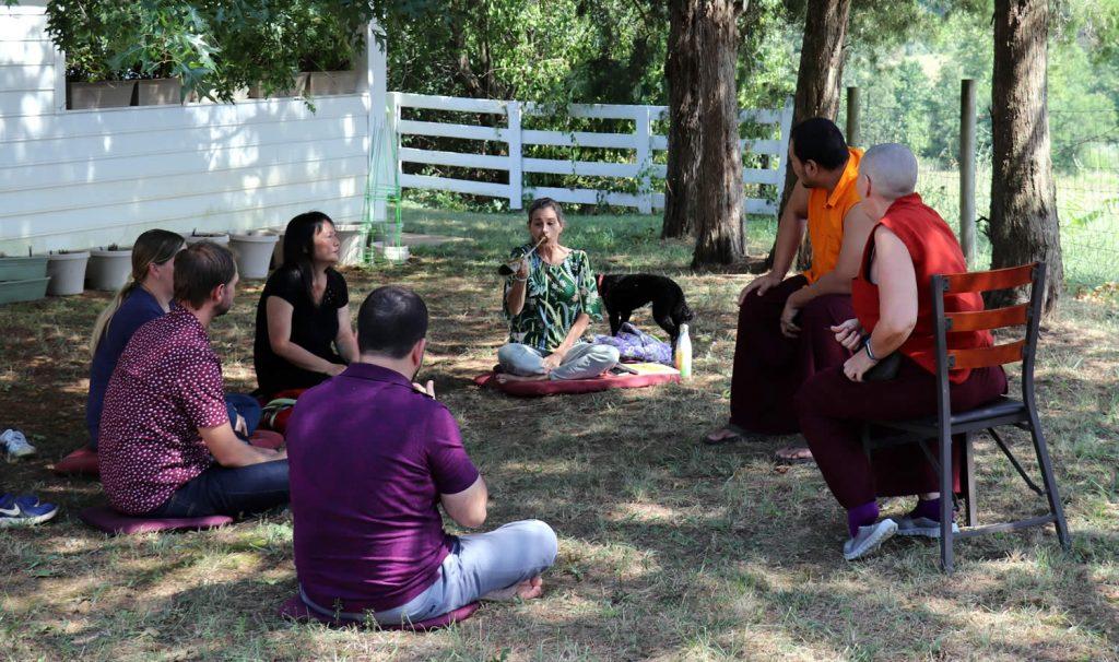Ven. Choktrul Ngawang Jigdral Rinpoche and Drolma Choedron with kangling students