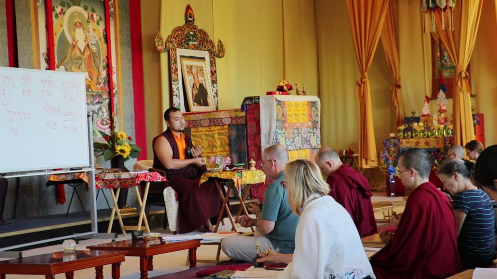 Ven. Choktrul Ngawang Jigdral Rinpoche leads a review of the Troma Nagmo liturgy